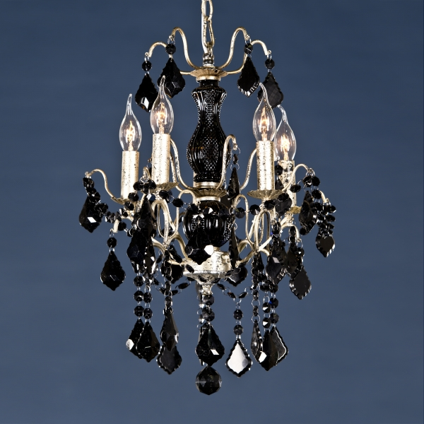 Charlotte 5 Light Chandelier - Silver and Black
