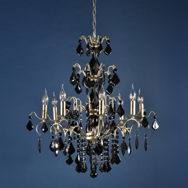 Charlotte 8 Light Chandelier - Silver and Black