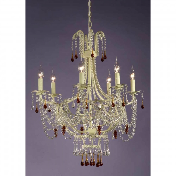 Marie Therese Lace 6 Light Chandelier - Cream