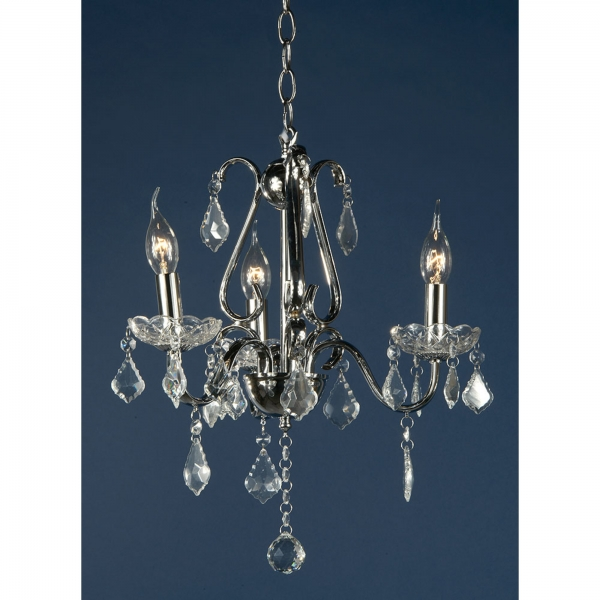 Vintage 3 Light Chandelier - Chrome and Clear