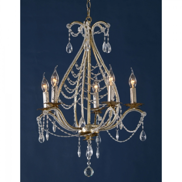 Vintage 5 Light Chandelier - Antique Silver and Clear