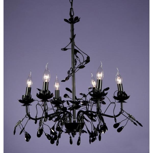 Floral 6 Light Chandelier - Black