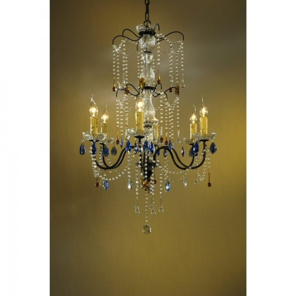 Vintage 6 Light Chandelier - Bronze, Clear, Amber and Blue