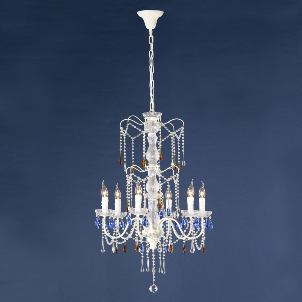 Vintage 6 Light Chandelier - Antique Cream and Clear