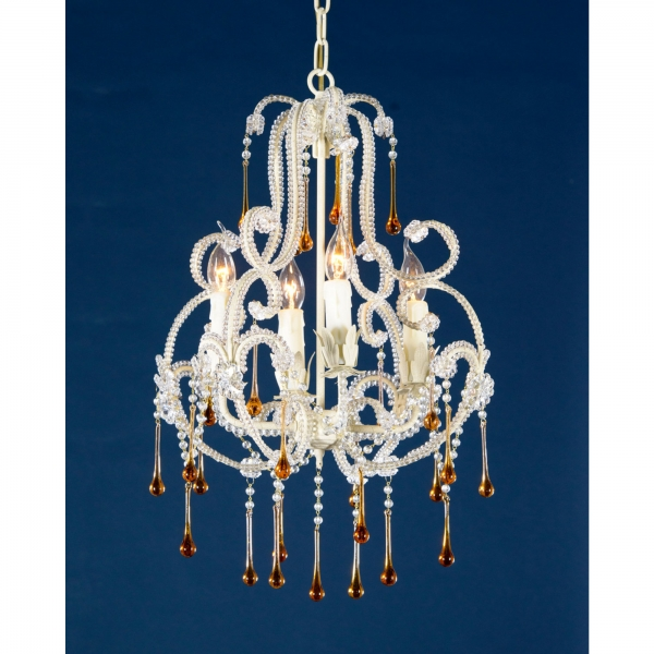 Vintage 4 Light Chandelier - Cream and Amber
