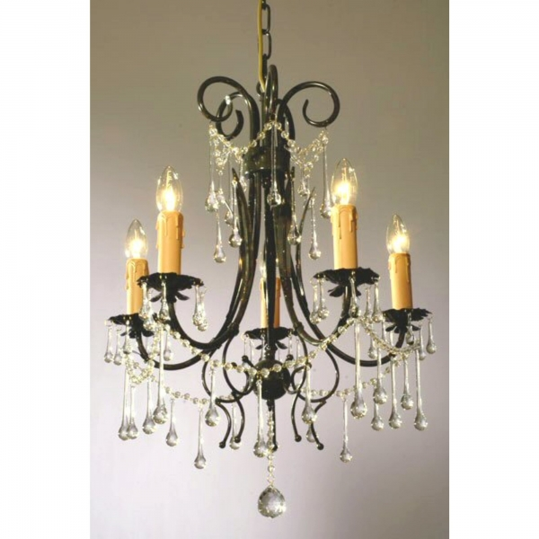 Vintage 5 Light Chandelier - Dark Green and Clear