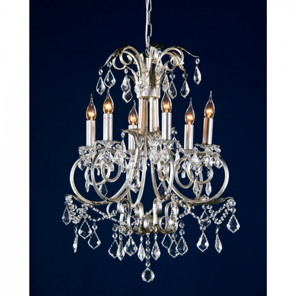 Elegant Swirl 6 Light Chandelier - Silver and Clear