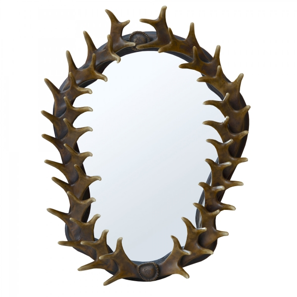 Antler Framed Brown Natural Finish Decorative Wall Bedroom Hall Mirror