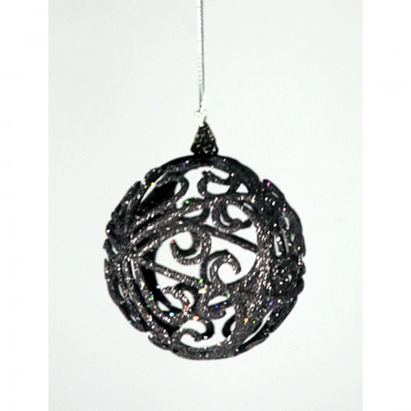 Decorative Items - Black Sparkley Hanging Ball Decoration