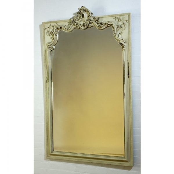 Rocaille Distressed Antique White Clay Bevelled Mirror