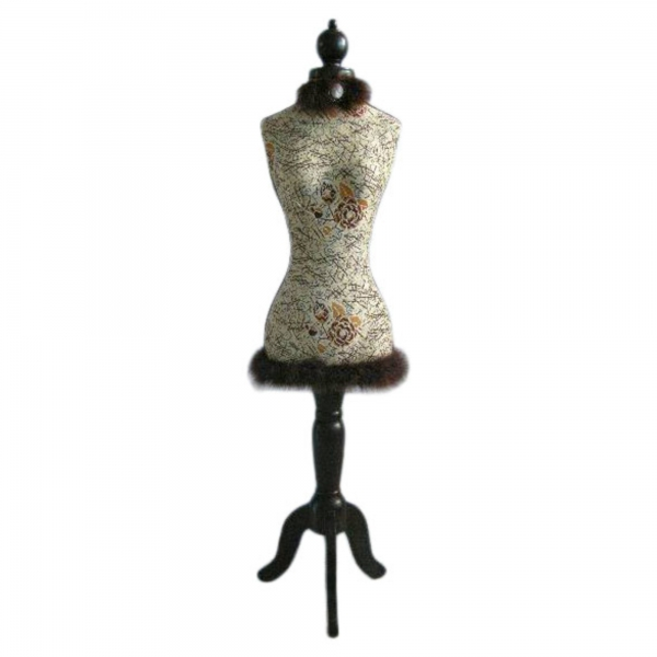 Rose-Patterned Decorative Mannequin with Feather Trim