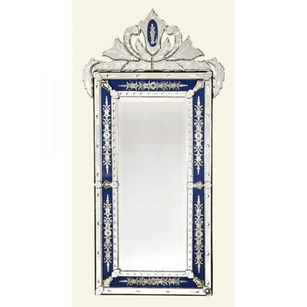 Vintage Venetian Etched Mirror - Blue and Clear