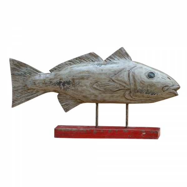 Carved Wooden Fish on Stand