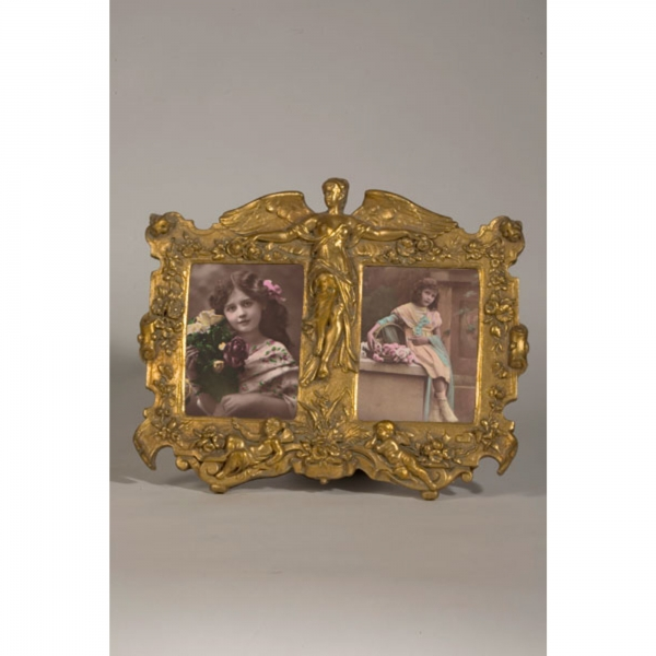 Art Nouveau Double Photo Frame Gold Gilt Leaf