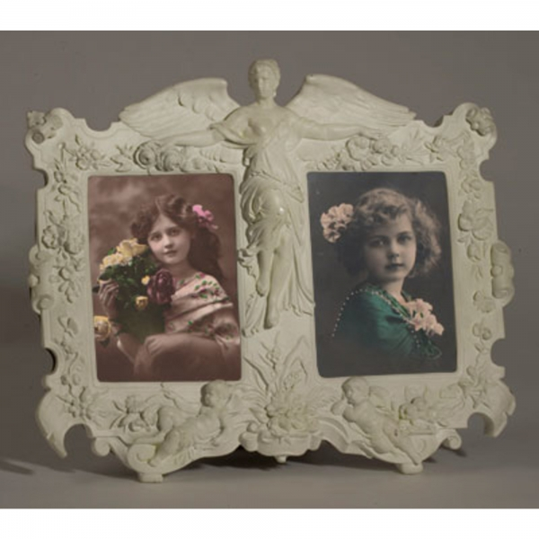 Art Nouveau Double Photo Frame White Clay Paint