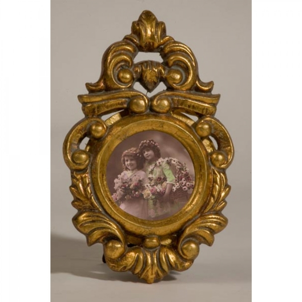 Gold Gilt Leaf Photo Frame - Round