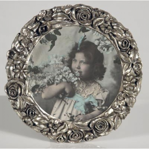 Silver Gilt Leaf Round  Photo Frame