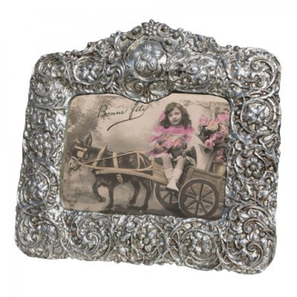 Silver Gilt Leaf Landscape  Photo Frame