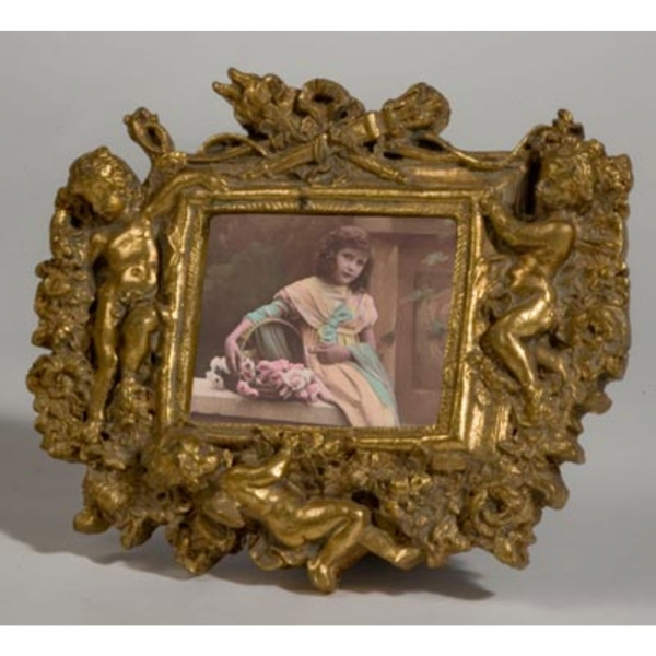 Gold Gilt Leaf Landscape Photo Photo Frame with Cherubs