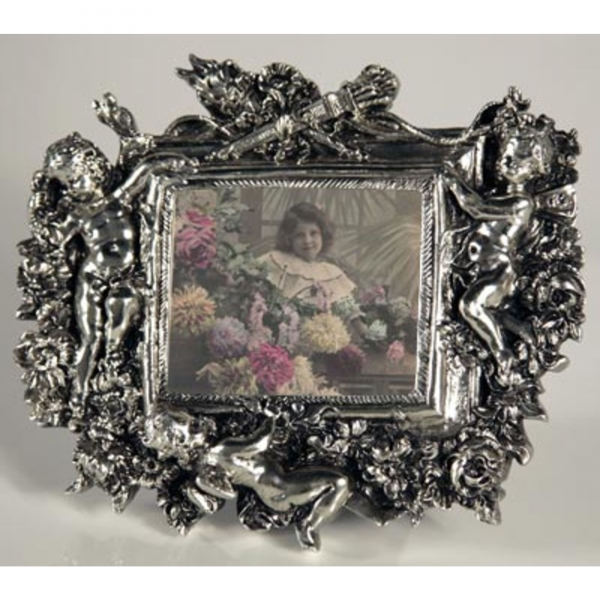 Silver Gilt Leaf landscape Photo Frame with Cherubs