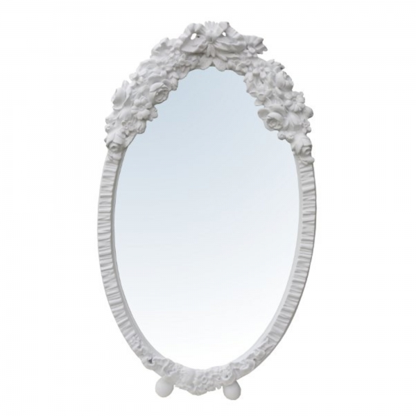 Barbola Floral White Oval Bevelled Decorative Table or Wall Mirror