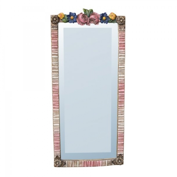 Barbola Floral Multicolour Bevelled Decorative Table or Wall Bedroom Mirror