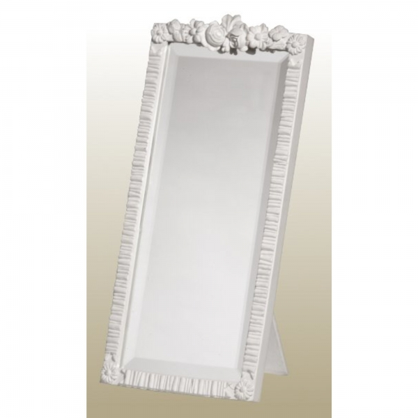 Barbola Floral White Chalk Paint Decorative Table or Wall Bedroom Mirror