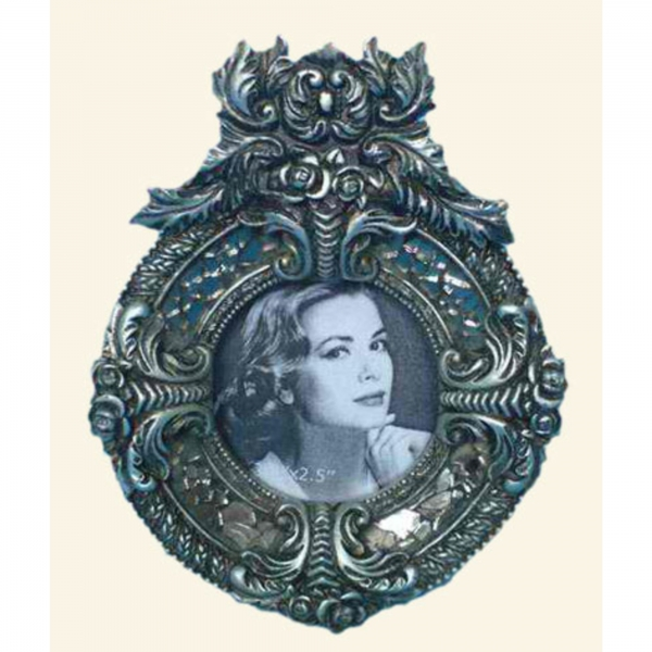 Iridecent Silver Round Photo Frame
