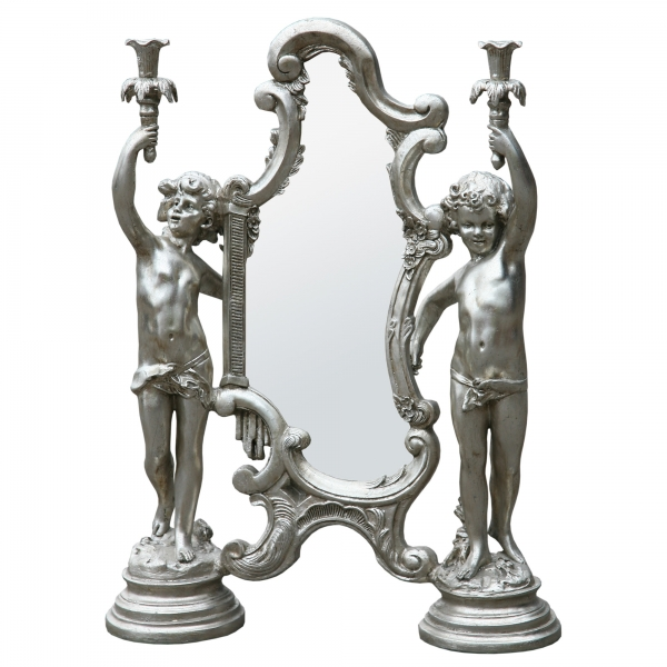 Champagne Silver Gilt Leaf Decorative Cherub Table Mirror with Candelabra