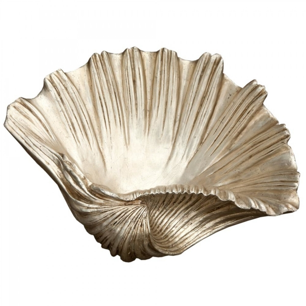 Decorative Silver Gilt Leaf Shell Basin Large