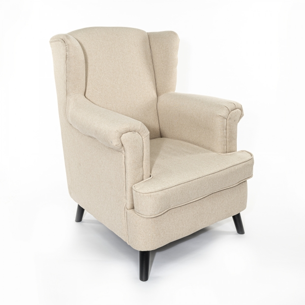 Off White Linen Arm Chair / Armchair With Dark Oak legs