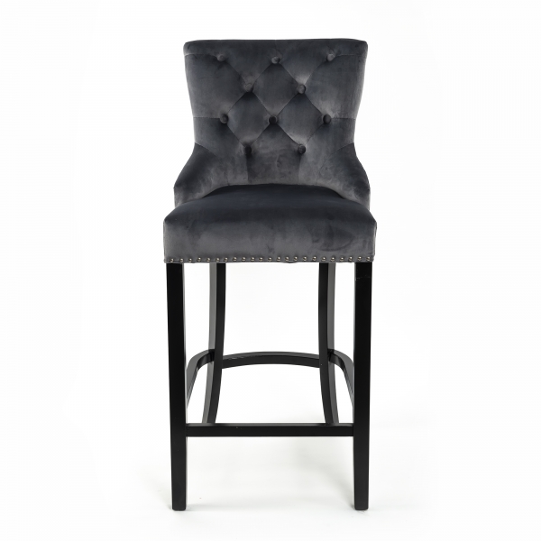 New Gray Velvet Barstool With Round Knocker and Oak legs