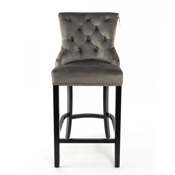 Light Gray Velvet Barstool With Round Knocker and Oak legs