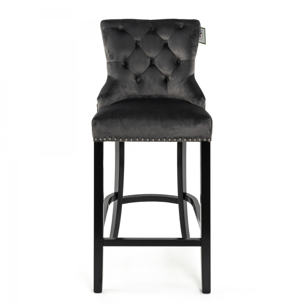 Dark Gray Velvet Barstool With Round Knocker and Oak legs