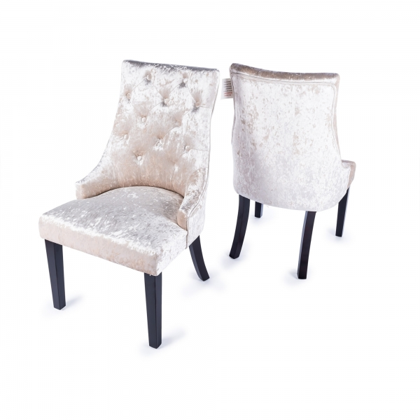 Crushed Velvet Dining Chair - Ivory