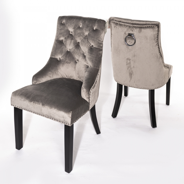 Light Gray Velvet Dining Chair With Knocker and Dark Oak legs