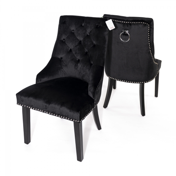 Velvet Dining Chair with Knocker - Black