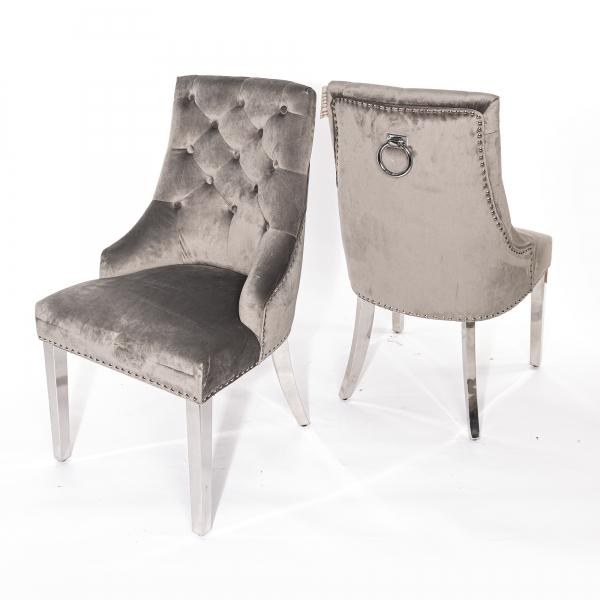 Light Gray Velvet Dining Chair With Knocker and Chrome legs