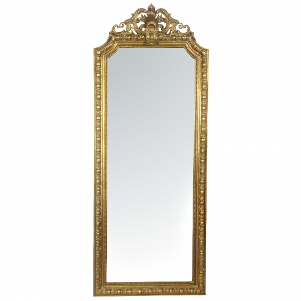 French Rococo Gold Gilt Leaf Bevelled Mirror