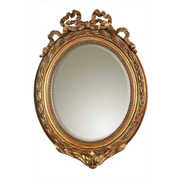Ophelia Ribbon Oval Mirror - Antique Gold