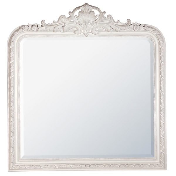 White Clay Paint French Overmantle Bevelled  Mirror