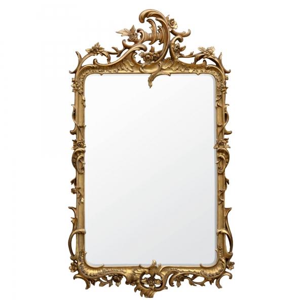 Rocaille Gold Gilt Leaf Bevelled Mirror