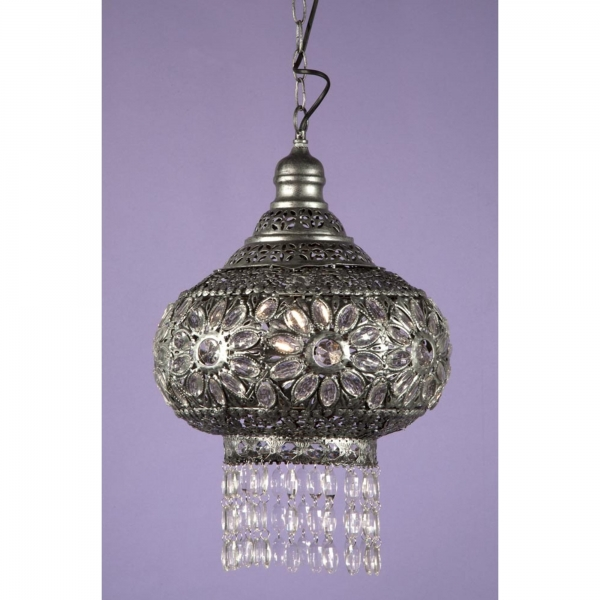 Jewelled Chandelier Light - Antique Silver