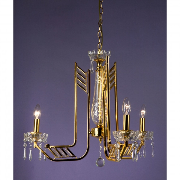 Crystal 3 Light Chandelier - Gold and Clear