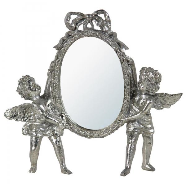 Champagne Silver Gilt Leaf Cherub Oval Bevelled Table Mirror