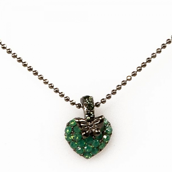 Palace Green B Heart Butterfly Necklace