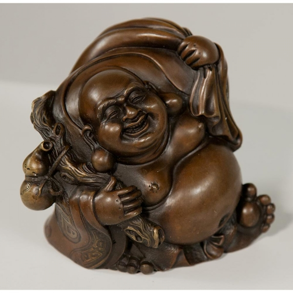 Solid Bronze Buddha Statue with Sack