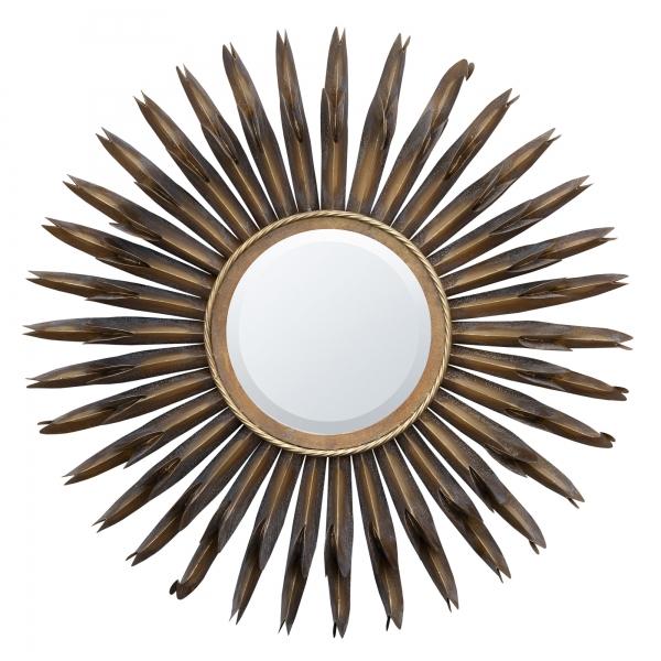 Sunburst Wall Mirror - Antique Bronze
