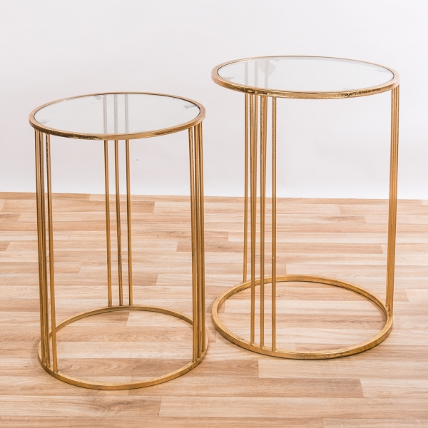 Gold Gilt Leaf Parisienne Set of two Mirrored Metal Nesting Tables - EXTRA PACKAGE