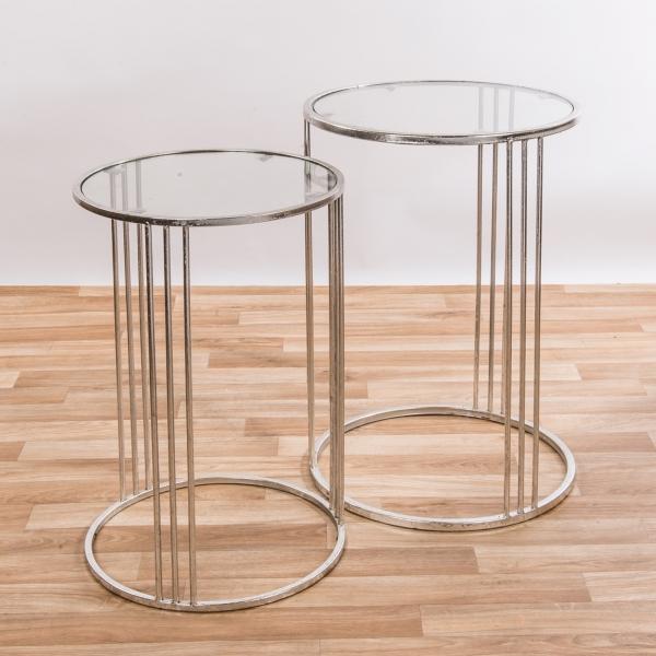 Gin Shu Metal Nest of Tables - Silver Gilt Leaf